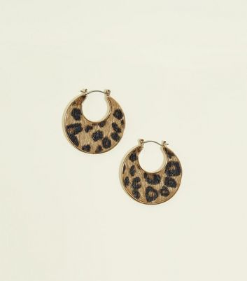 WANTED Brown Faux Leopard Hoops