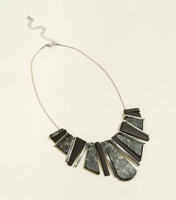 WANTED Grey Resin and Stick Necklace