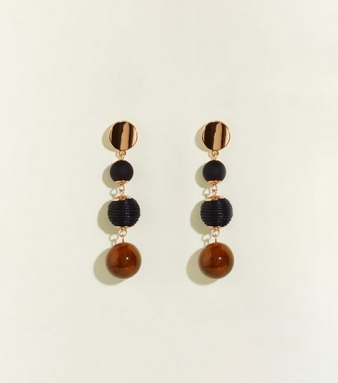 Wanted Brown Mixed Orb Drop Earrings