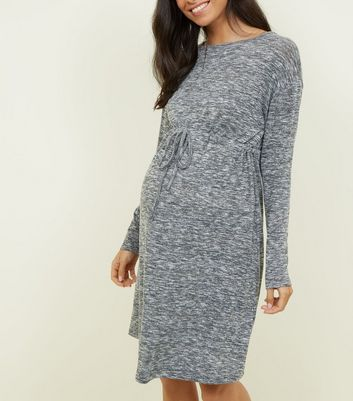 Maternity Grey Tie Waist Fine Knit Dress