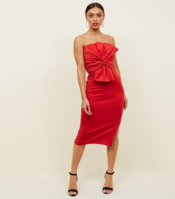 Red Strapless Bow Front Midi Dress