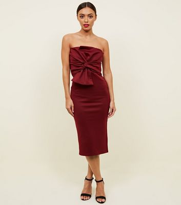 Burgundy Strapless Bow Front Midi Dress