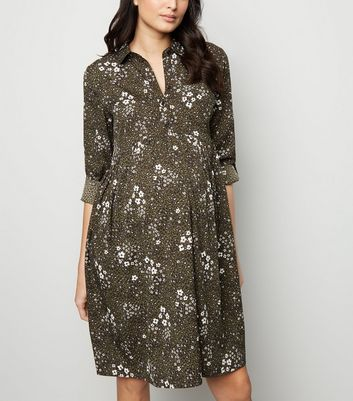 Maternity Green Floral Leopard Print Shirt Dress