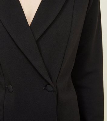 Black Double Breasted Tuxedo Dress New Look