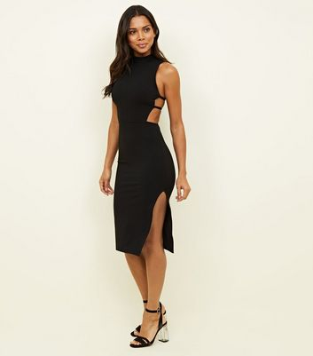 Black Strappy Side High Neck Midi Dress