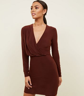 Rust Wrap Around Slinky Drape Dress