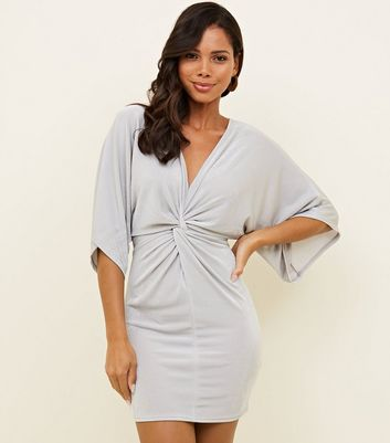 Grey Twist Front Slinky Mini Dress