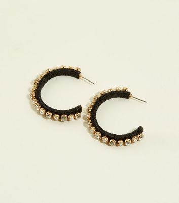 WANTED Black Thread Wrapped Hoops
