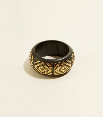 WANTED Black Raffia Wide Bracelet