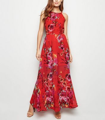 Blue Vanilla Red Floral Halterneck Maxi Dress by New Look