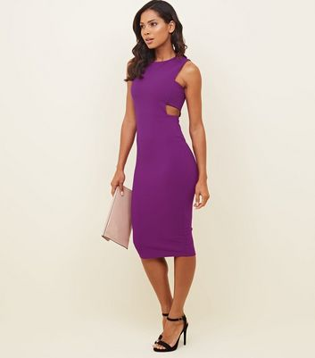 Purple Cut Out Midi Dress