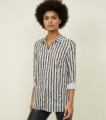White Stripe Chain Print Shirt