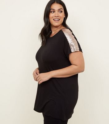 Curves Black Sequin Sleeve T-Shirt