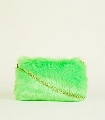 Green Neon Faux Fur Cross Body Bag