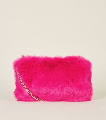 Pink Neon Faux Fur Cross Body Bag