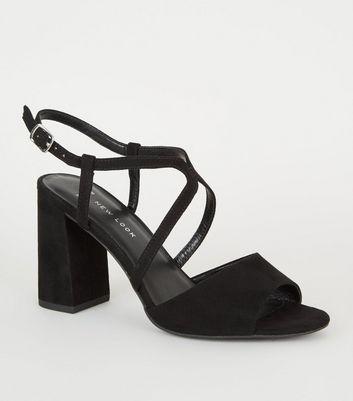 Wide Fit Black Strappy Peep Toe Block