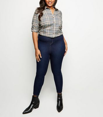 Curves Light Grey Check Cotton Shirt