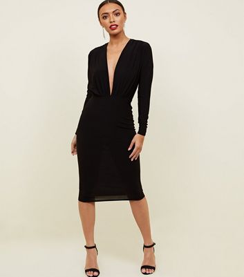 Black Deep Plunge V-Neck Bodycon Dress