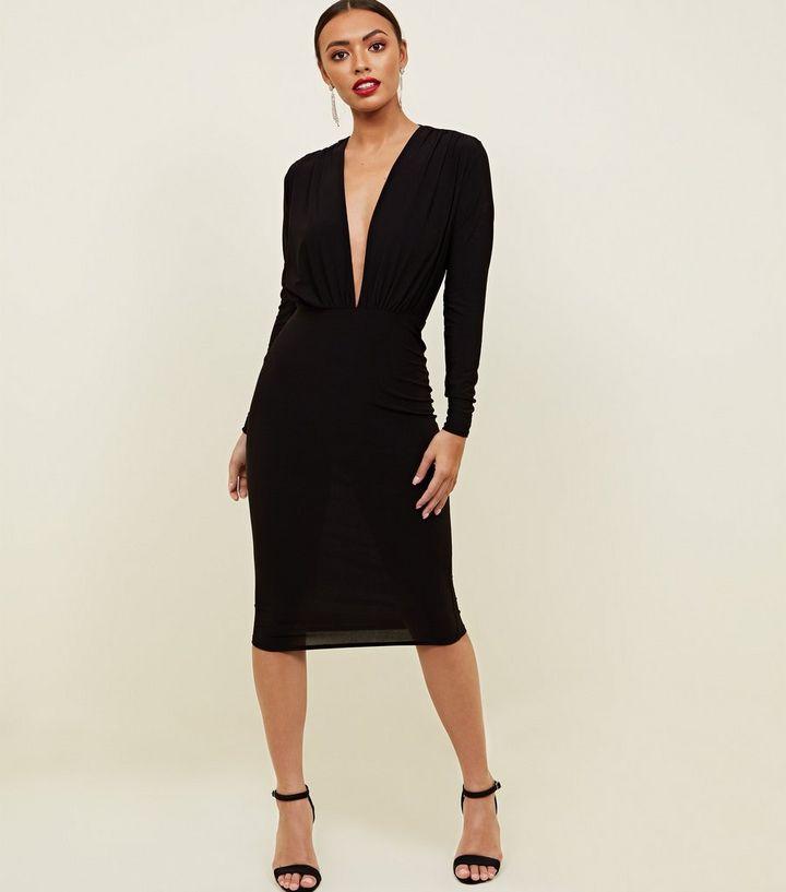 2db3f132ad7a Black Plunge V-Neck Bodycon Dress | New Look