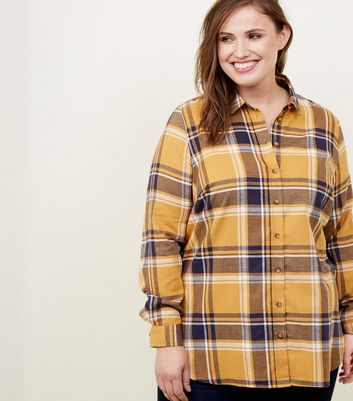 Yellow Check Print Longline Shirt