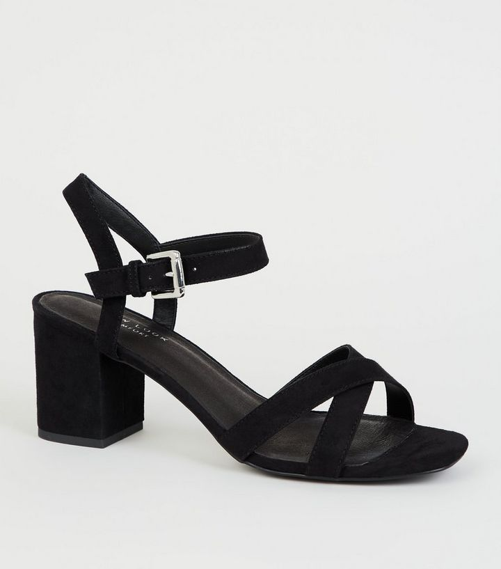 dbfa45a70 Black Comfort Flex Low Block Heel Sandals | New Look