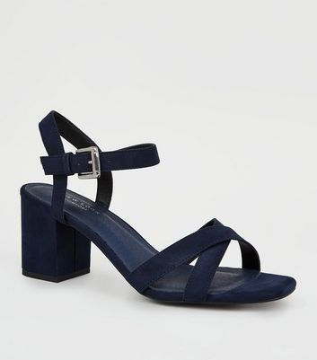 Navy Comfort Flex Low Block Heel Sandals