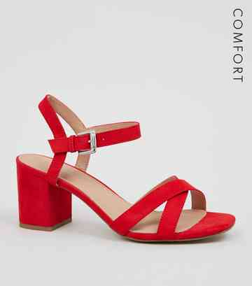 Red Comfort Flex Low Block Heel Sandals