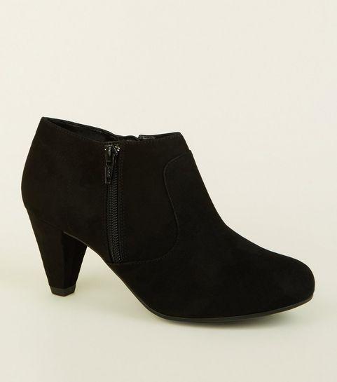 94c748a5443 ... Black Suedette Cone Heel Boots ...