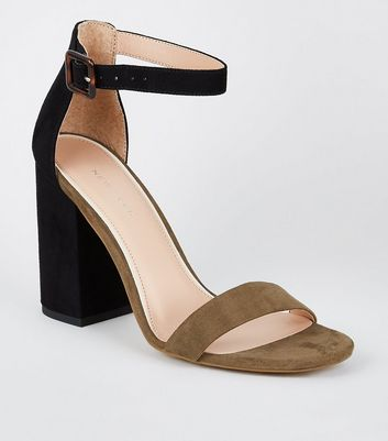 Khaki and Black Colour Block Heeled Sandals