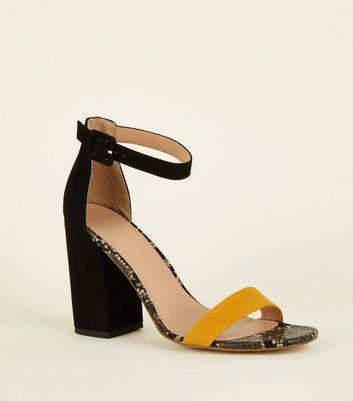 Black Faux Snakeskin Block Heels