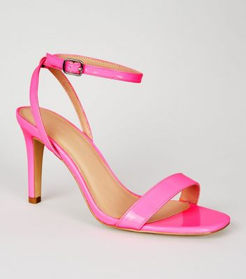 Wide Fit Bright Pink Neon Stiletto Sandals