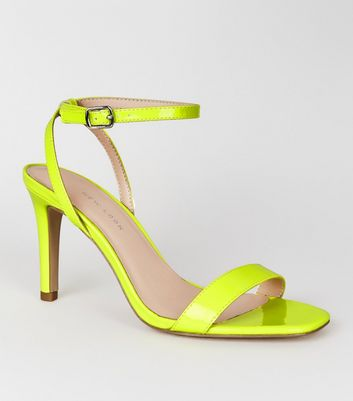 Wide Fit Yellow Neon Stiletto Sandals
