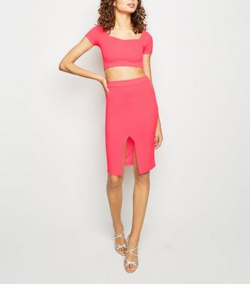 Carpe Diem Bright Pink Midi Skirt
