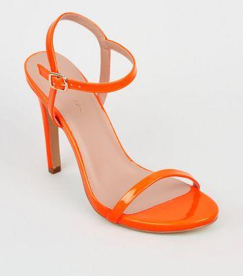 c5cff6c35f Orange neon patent barely there stiletto sandals new look jpg 720x817 There  stiletto