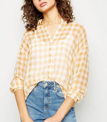 Yellow Gingham Crepe Chiffon Shirt