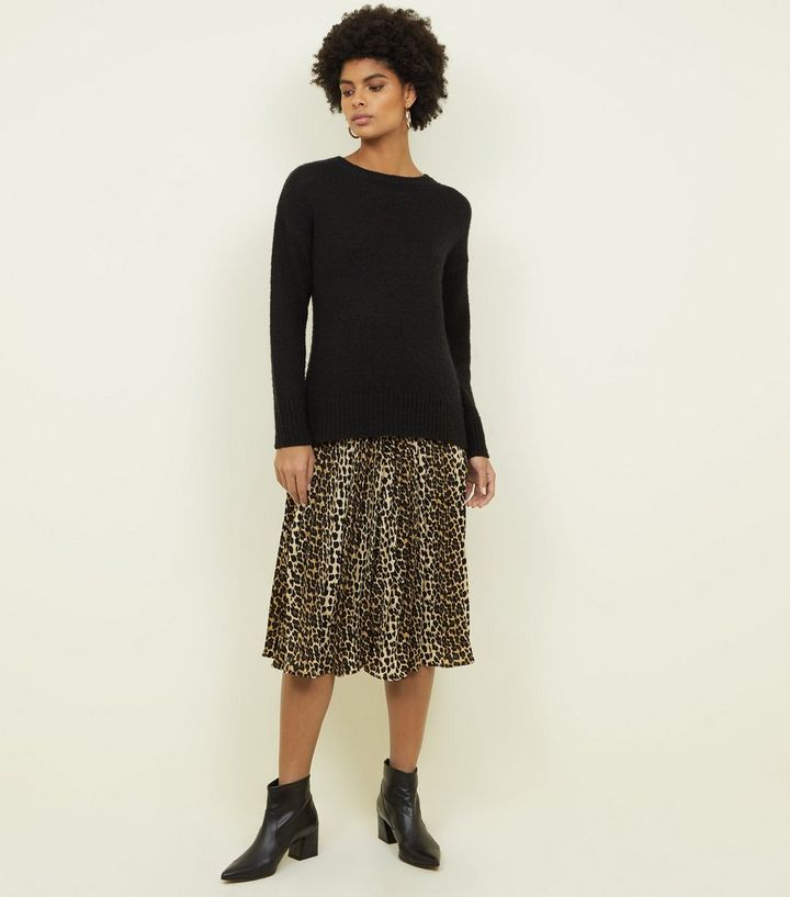 3470ee7fa6a0 Tokyo Doll Brown Leopard Print Pleated Midi Skirt   New Look
