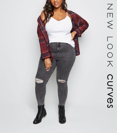 89398f938ecb4 ... Curves Grey Acid Wash High Waist Super Skinny Jeans ...