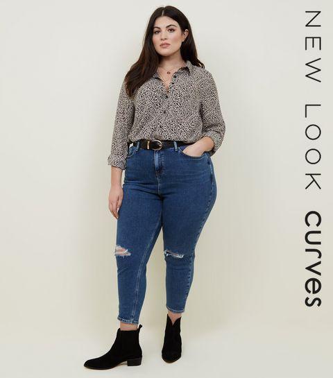 0a10ba1685a ... Curves Blue Ripped Knee Slim Leg Mom Jeans ...