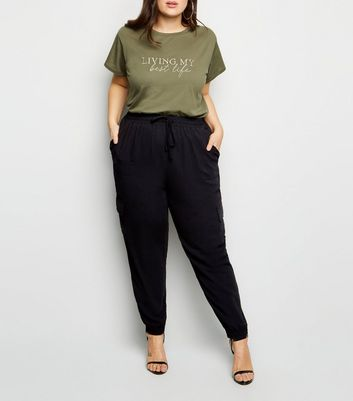 Curves Black Cuffed Utility Joggers