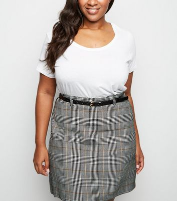 Curves Black Check Belted Mini Skirt
