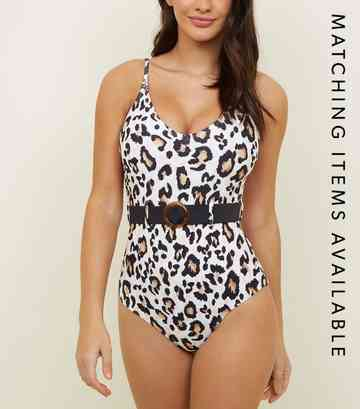 White Leopard Print Belted Swimsuit