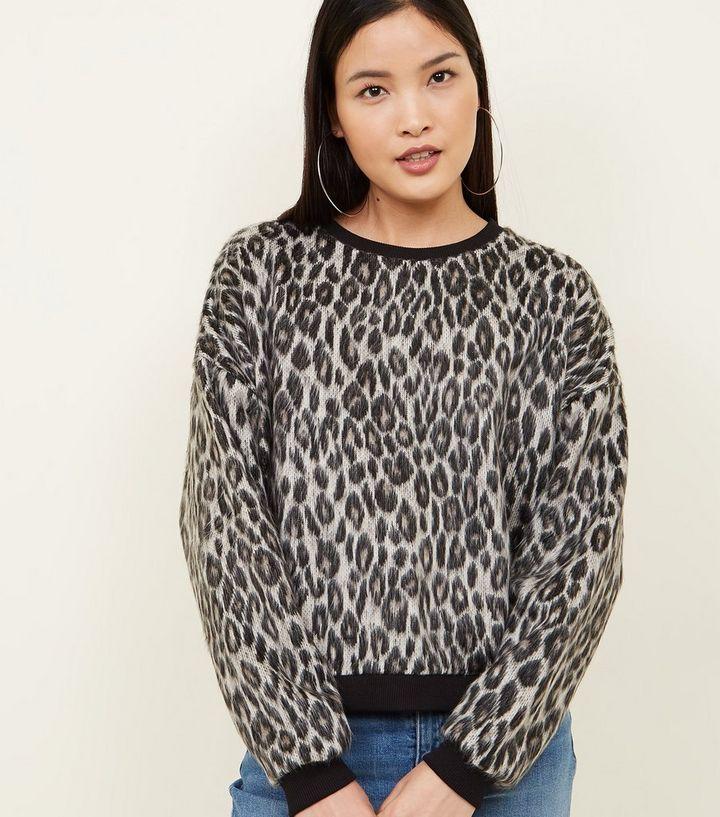 e2e03f8f139c Grey Leopard Print Brushed Fine Knit Top | New Look