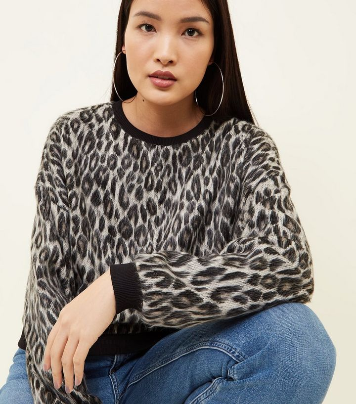 46df7c9b399a ... Grey Leopard Print Brushed Fine Knit Top. ×. ×. ×. Shop the look