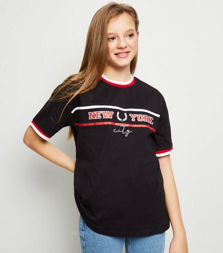 90b5427c903b Girls Black NY Slogan Oversized T-Shirt | New Look