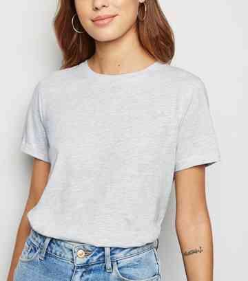 191c66fce5 Pale Grey Organic Cotton Blend Roll Sleeve T-Shirt ...