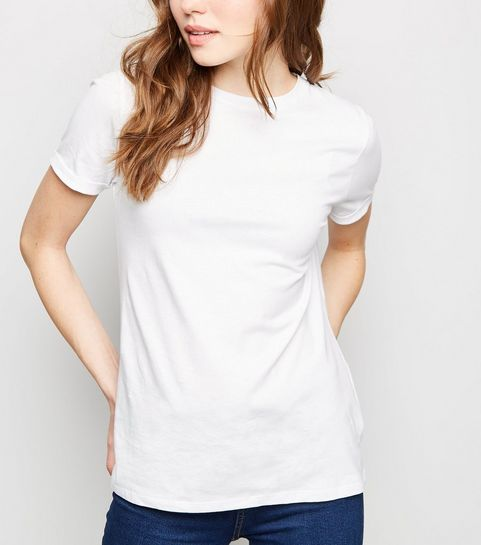 3b1a9169b ... White Organic Cotton Roll Sleeve T-Shirt ...