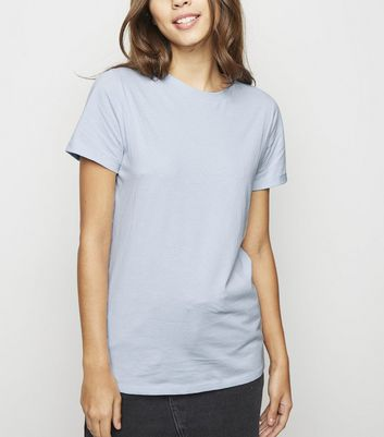 Pale Blue Roll Sleeve T-Shirt