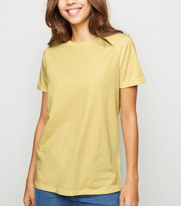 Pale Yellow Roll Sleeve T-Shirt