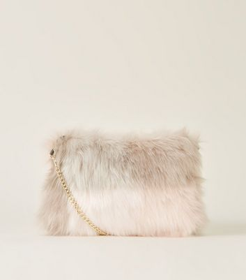 Pink Check Faux Fur Cross Body Bag