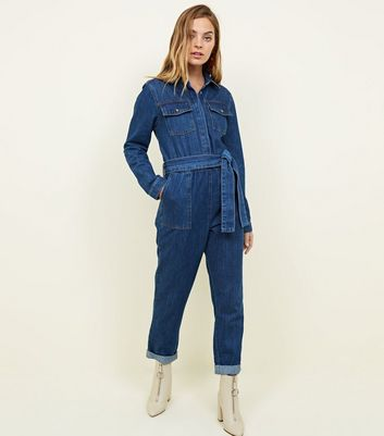 Petite Blue Denim Long Sleeve Utility Jumpsuit